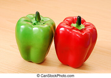 A green and red pepper