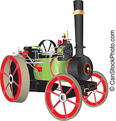 Traction Engine - A Green and Red Steam Traction Engine