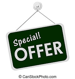 A green and white sign with the word Special Offer isolated on a white background, Special Offer Sign