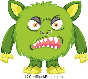 A green angry monster