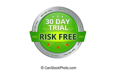 A green animated 30 Day Trial Risk Free Sign