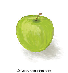 a green apple on a white background