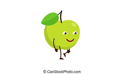 A green apple with a funny face is walking.