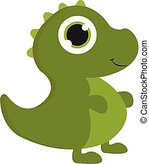 A green baby dinosaur vector or color illustration