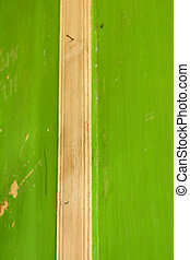 a green background of a door wooden
