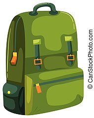 A Green Backpack on White Background