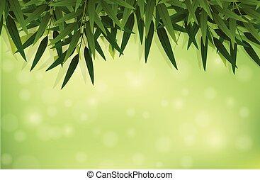 A green bamboo leaf template