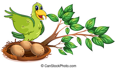 A green bird at the branch of a tree