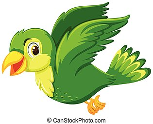 A green bird flying on white background