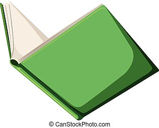 A green book on white background