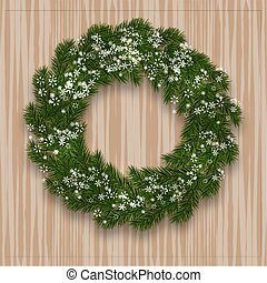 A green branch of spruce in the form of a Christmas wreath with shadow and snowflakes. against the background of natural wood. illustration