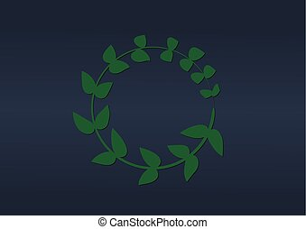A green branch with leaves folded into a ring.