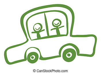 A green car with two kids riding