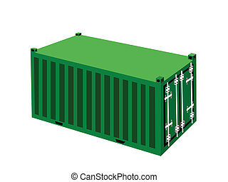 A Green Cargo Container on White Background - An ...