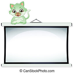 A green cat above the whiteboard