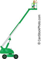 Green Cherry Picker - A Green Cherry Picker High Lift...