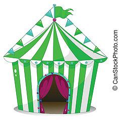 A green circus tent