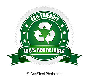 A green coloured 100% recyclable sign