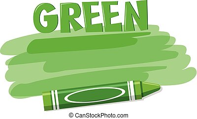 A green crayon on white background