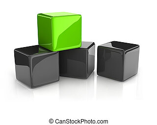 green cube - a green cube placed observably in a group of...