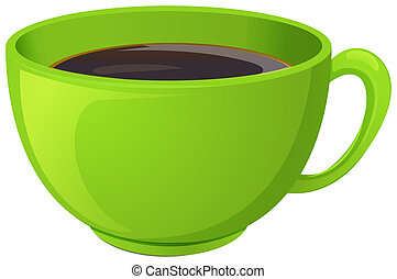 A green cup with coffee