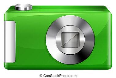 A green digicam - llustration of a green digicam on a white...