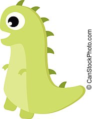 A green dinosaur with horns vector or color illustration
