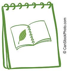 A green doodle notebook