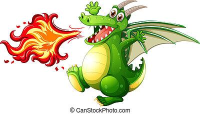 A green dragon fire