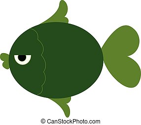 A green fish vector or color illustration