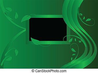 A green floral background vector illustration