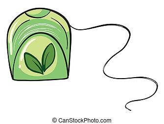 A green floss holder - Illustration of a green floss holder...