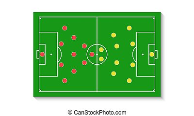 A green football field with a tactical scheme of the arrangement of players of two soccer teams on the board, organization of a game diagram for a fantasy league coach