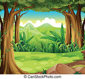 A green forest across the high mountains - Illustration of a...