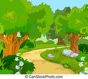 Forest Landscape - A Green Forest Landscape with Trees and ...