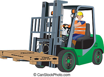 A Green Forklift Truck and Driver carrying a packing case
