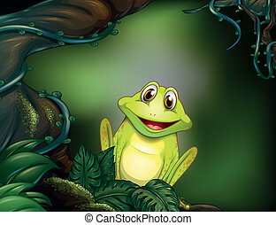 Illustration of a green frog in the jungle