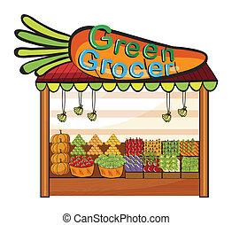 A green grocer shop - Illustration of a green grocer shop on...