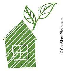 A green house with leaves