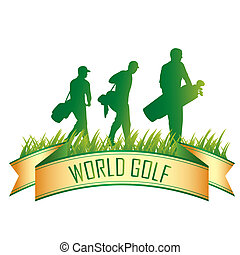a green icon for golf with some silhouettes
