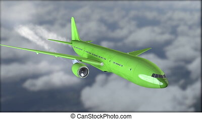 A green is flying in the clouds. Blurred background. The grey clouds. Liner in the sky close-up. Flyby. 3D, 4K Animation realistic visualization