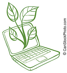 A green laptop with an image of a green plant