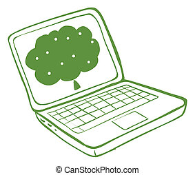 A green laptop with an image of a tree