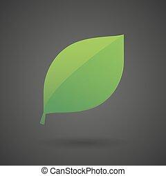 a green leaf  white icon on a dark  background