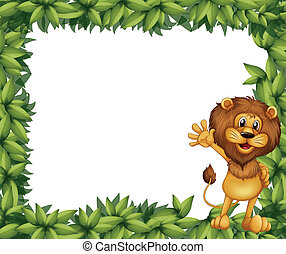 A green leafy border with a lion - Illustration of a green...