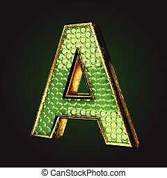 a green letter with gold