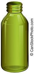 A green medical bottle