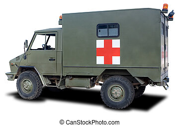 Military Ambulance - A Green Military Ambulance Isolated on...