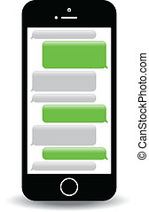 text messaging - a green mobile phone text messaging screen