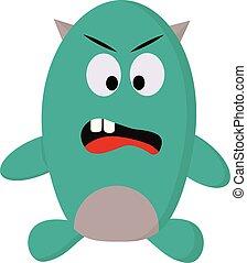 A green monster, vector color illustration.